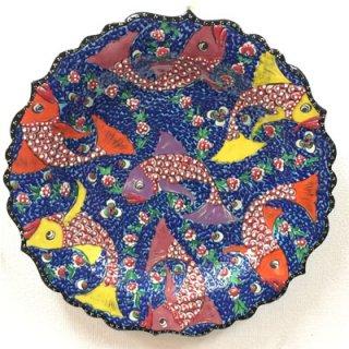キュタフヤ陶器絵皿 ( LL 7匹のさかな )