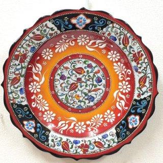 キュタフヤ陶器絵皿 ( LL ホワイト×オレンジ 01 )