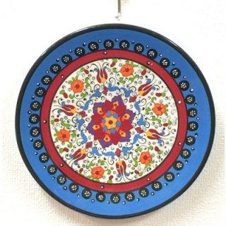 キュタフヤ陶器絵皿 ( M ターコイズブルー&ホワイト 01 )