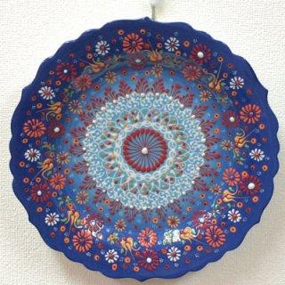 キュタフヤ陶器絵皿 ( L ブルー&ライトブルー 01 )