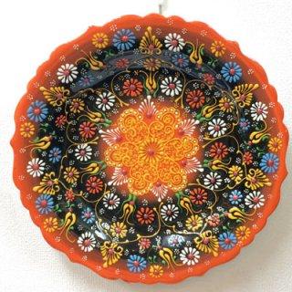 キュタフヤ陶器絵皿 ( LL オレンジ&ブラック 01 )