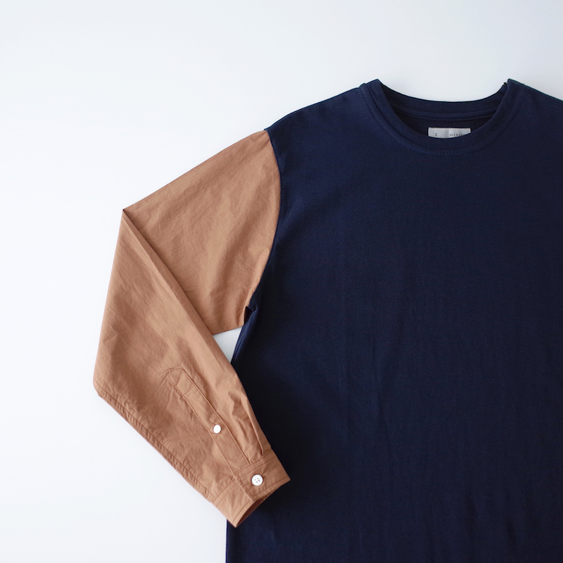 nisica 袖切り替えカットソー Navy × Brown