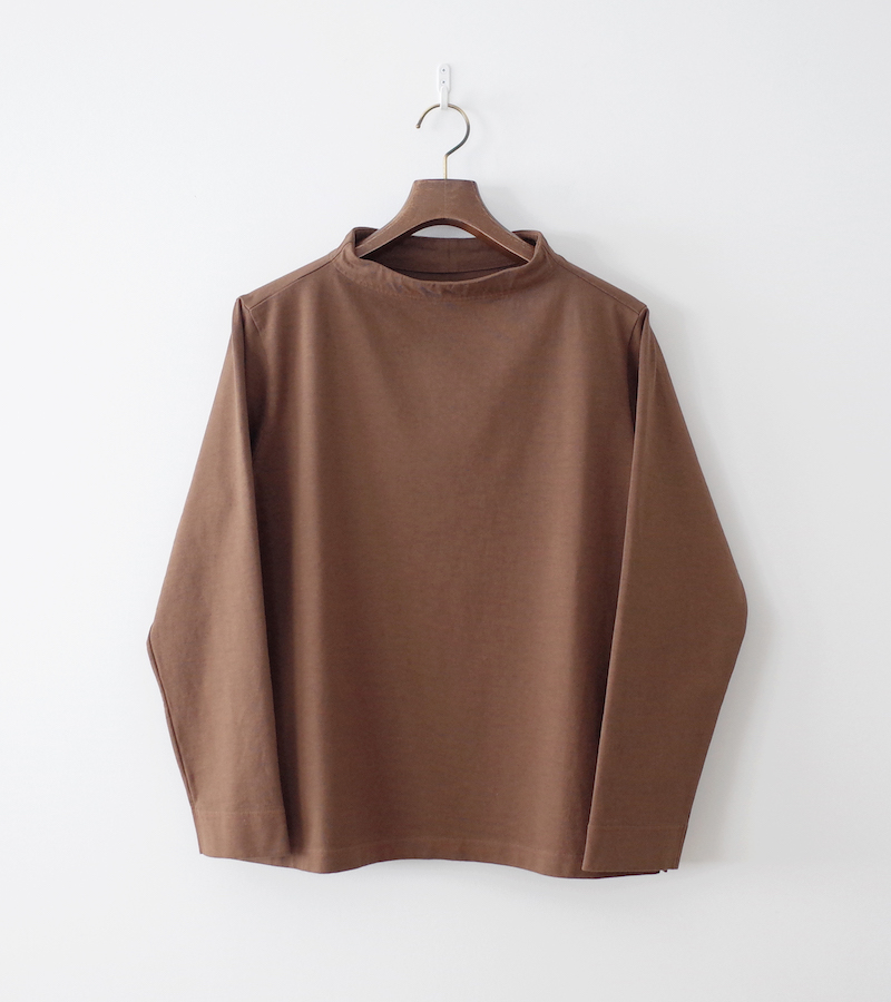 nisica ニシカ 長袖ガンジーネックカットソー Brown