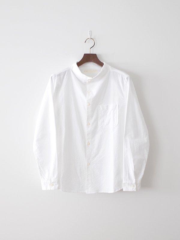 nisica 長袖ガンジーネックシャツ White