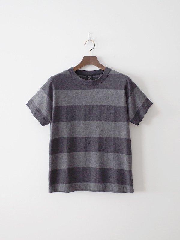 homspun 60/2 天竺太ボーダー半袖Tシャツ TOPチャコール × TOPダークチャコール(メンズ)