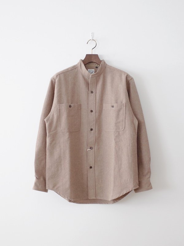 <img class='new_mark_img1' src='https://img.shop-pro.jp/img/new/icons21.gif' style='border:none;display:inline;margin:0px;padding:0px;width:auto;' />【20%OFF】orSlow Stand Collar Shirt Cotton Wool - Khaki