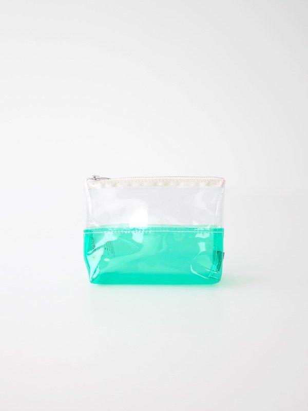 TEMBEA Toiletry Bag 2Tone PVC - Clear / Green