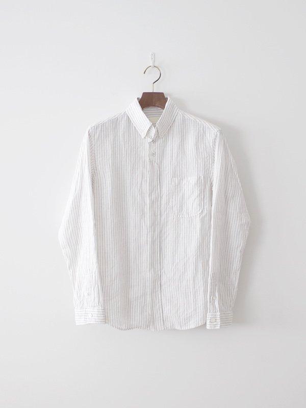 nisica 長袖ボタンダウンシャツ リネン ストライプ White × Gray