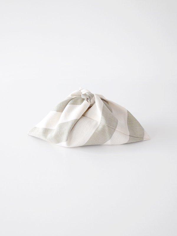 F/style 亀田縞の弁当包み 生成×若草