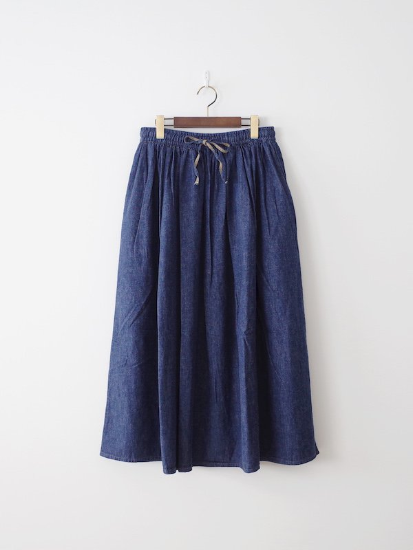 orSlow Long Length Gather Skirt - Denim One Wash
