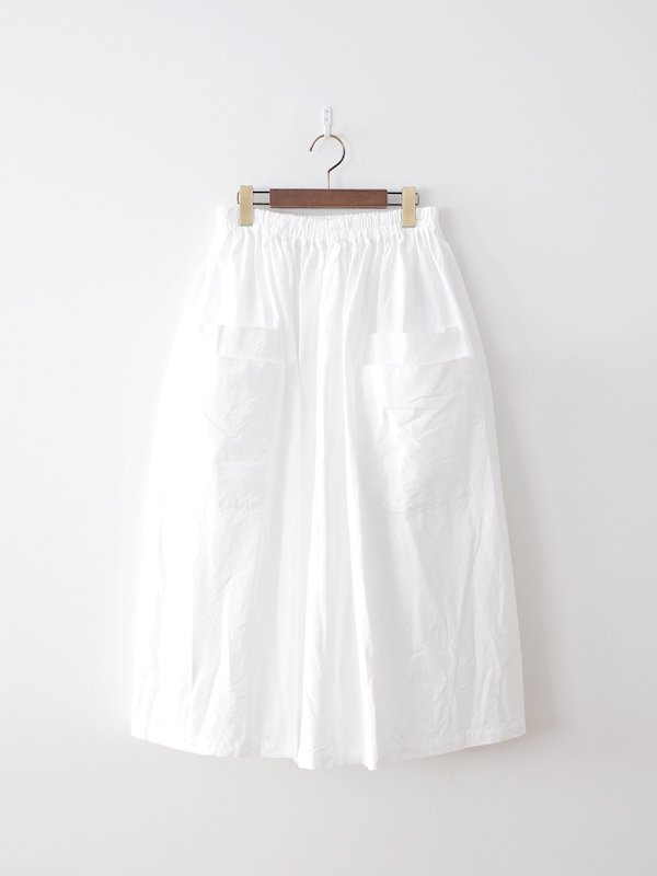 homspun オックス ダブルポケット ギャザースカート ホワイト
