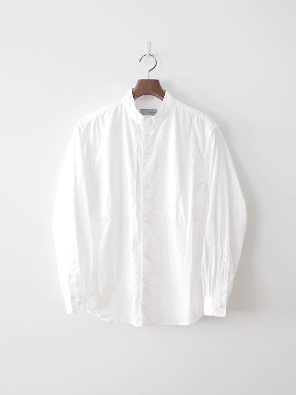 nisica 長袖バンドカラーシャツ White