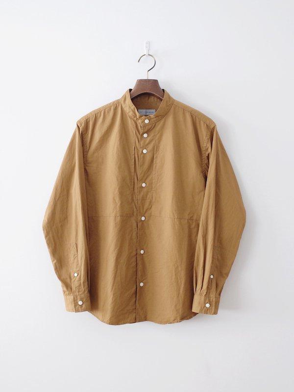 nisica 長袖バンドカラーシャツ Camel