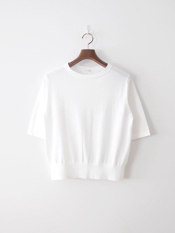 homspun ソフトコンパクトヤーン 五分袖プルオーバー ホワイト
