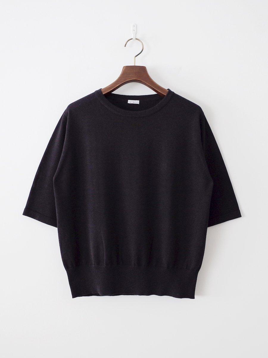 homspun ソフトコンパクトヤーン 五分袖プルオーバー ブラック