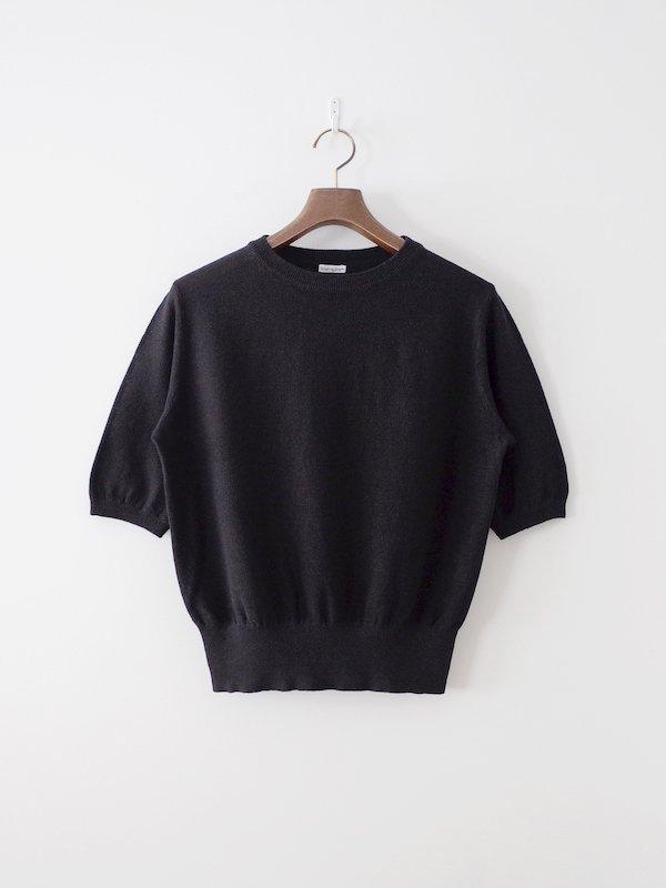 homspun リネンかのこ編み 半袖プルオーバー ブラック