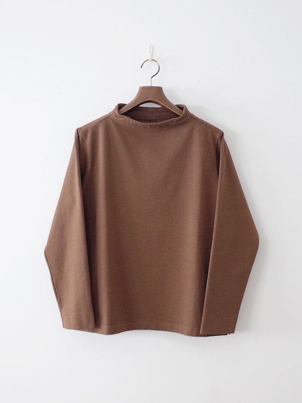 nisica 長袖ガンジーネックカットソー Brown