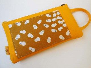 持ち手付ハンドポーチ「utile」〜ひまわり色・京かえら雪だるま文(1点品)