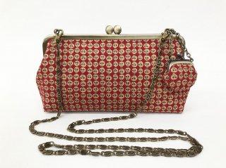 がまクラッチバッグ「プラチナ本丹後紋縮緬」どくろ黒紅 KAERA luxe