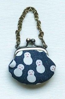 アウトレット品 1.2寸がま口チャームタイプ「プラチナ雪だるま文」~頑張れ日本負けるな日本!応援セール