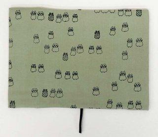 ブックカバー文庫用 猫文様 緑