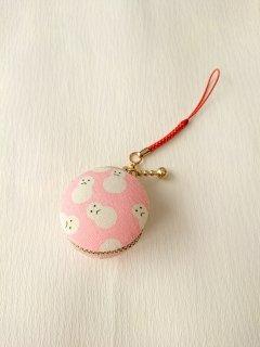 マカロンタイプ小物入「雪だるま ピンク色」~頑張れ日本負けるな日本!応援セール
