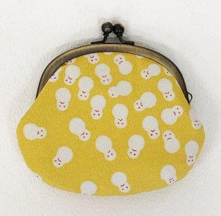 3.3寸丸 がま口「プラチナ雪だるま」黄檗色~頑張れ日本負けるな日本!応援セール対象