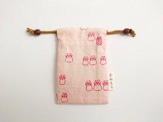 お守り巾着〜桜色・京かえら猫文