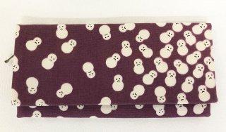 布長財布(ファスナー付き小銭いれ・カード入れ付き)雪だるま文様 古代紫