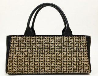バッグ「rectangle」プラチナ紋縮緬 / 本革    金彩どくろ 黒   KAERA luxe 1点品