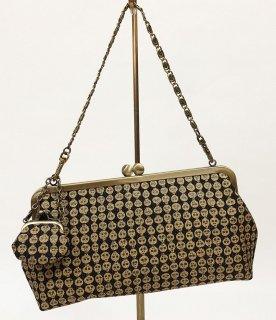 がまクラッチバッグ「プラチナ本丹後紋縮緬」どくろ文様金彩 KAERA luxe