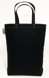 Eco bag「kaera armor」 エコバッグ仕様の大きめバッグ 黒地 かお猫文