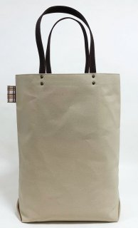 Eco bag「kaera armor」 エコバッグ仕様の大きめバッグ グレーベージュ地 格子文