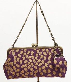 がまクラッチバッグ「プラチナ本丹後紋縮緬」古代紫 金彩雪だるま文様 KAERA luxe