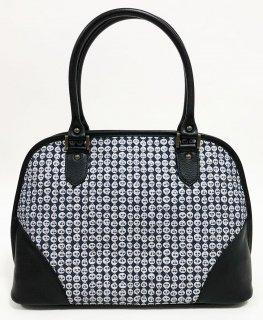 バッグ「KAERA elegance」プラチナ紋縮緬 / 本革    銀彩どくろ墨紺   KAERA Luxe 完全1点品