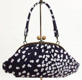 バッグ「KAERA CLAM8」 銀彩雪だるま文様 古代紫色   KAERA Luxe 完全1点品