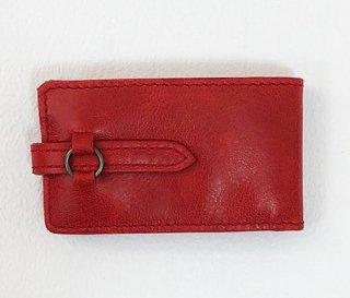 ひとこぶ駱駝本革 プチ財布 黒紅色 どくろ文  KAERA luxe line(1点品)