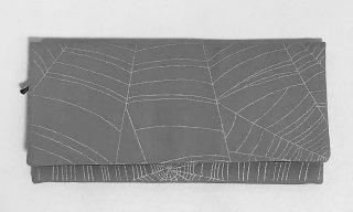 京かえら蜘蛛の巣文様 布長財布 銀鼠/銀彩