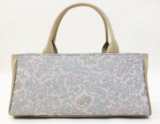 バッグ「rectangle」本プラチナ紋縮緬 / 本革    銀彩パール 四君子文様     KAERA luxe 完全1点品