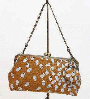 がまクラッチバッグ「プラチナ本丹後紋縮緬」狐色 銀彩雪だるま文様 KAERA luxe