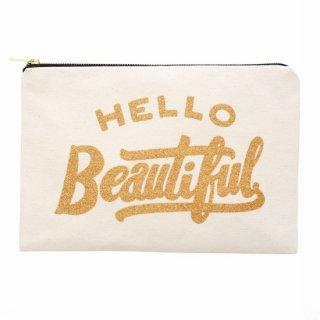 HELLO Beautiful  ナチュラルキャンバスポーチL (Last 1)