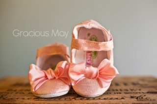 Pink Silk Bow Shoes