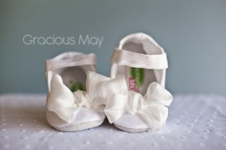 White Silk Bow Shoes