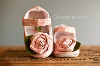 Pink Silk Rosette Shoes