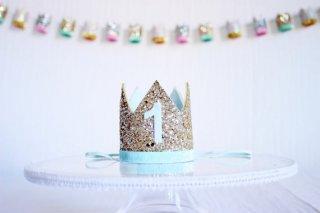 Birthday Crown Gold × Baby Blue