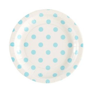 White with Blue Polka Dot Plates set of 12 (Last 1)