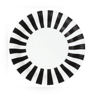 Black Striped Paper Plates<br>set of 12