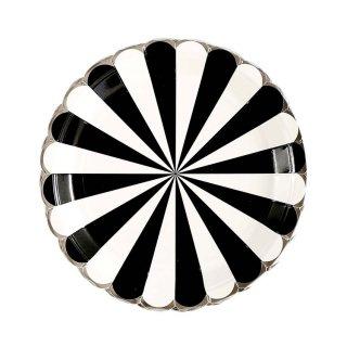 Black Scallop Paper Plates set of8