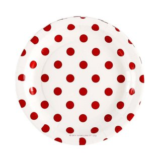 White with Red Polka Dot Plates set of 12