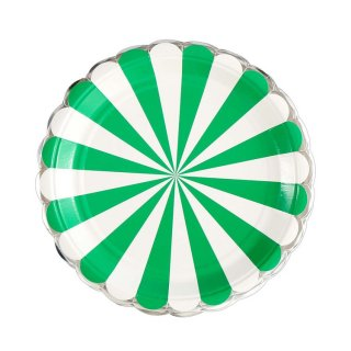 Green Scallop Paper Plates set of8
